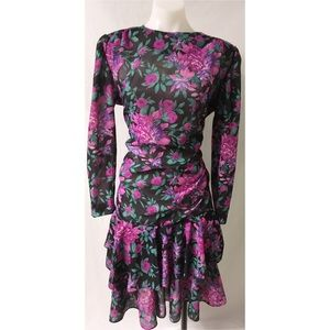 Black/Pink Vintage Ruffle Dress Large